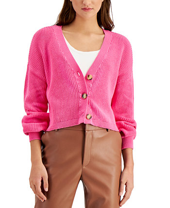 Cotton Cropped Drop-Shoulder Cardigan, Created for Macy's Bar III