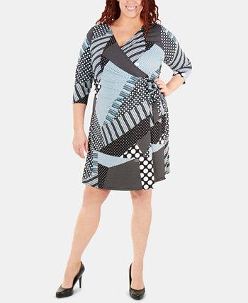 Plus Size Printed Tie-Front Wrap Dress NY Collection