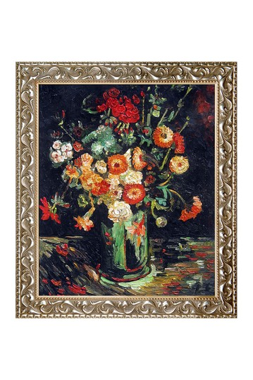 """Vincent Van Gogh """"Vase with Zinnias and Geraniums """" Framed Hand Painted Oil Reproduction No brands"""