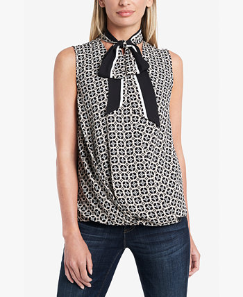 Petite Printed Tie-Neck Top Vince Camuto