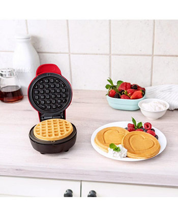 Mini Waffle Maker, Heart Red Bella