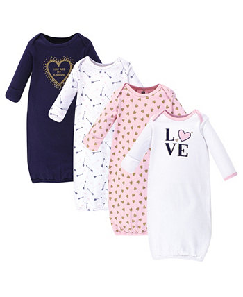 Baby Girl Cotton Gowns, 4-Pack Hudson Baby