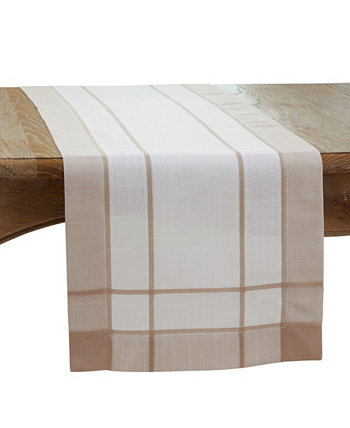 """Long Table Runner with Banded Border Design, 90"""" x 16"""" Saro Lifestyle"""