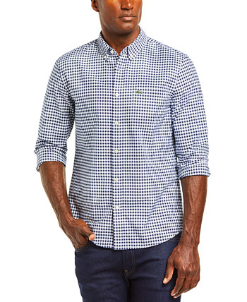 Men's Regular-Fit Checkered Oxford Cotton Shirt Lacoste