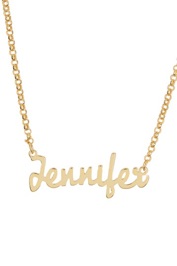 18K Yellow Gold Plated Sterling Silver 'Jennifer' Name Pendant Necklace Argento Vivo