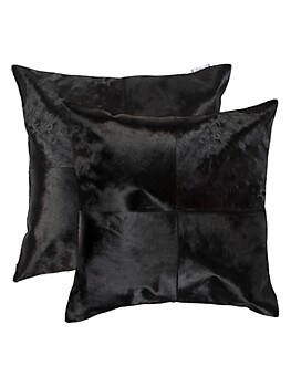 2-Pack Square Panel Cowhide Pillow Set Torino