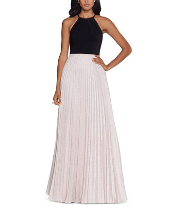 Pleated Glitter Gown Betsy & Adam