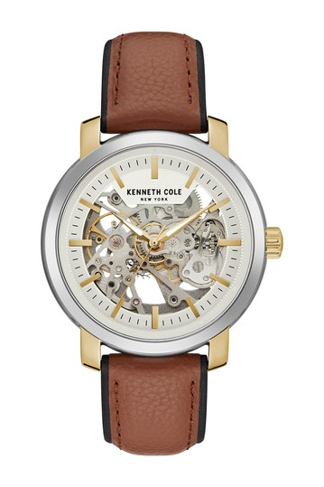 Men's Automatic Leather Strap Watch, 42.5mm Kenneth Cole New York