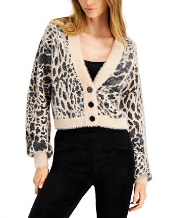 Animal-Print Eyelash Cardigan, Created for Macy's Bar III