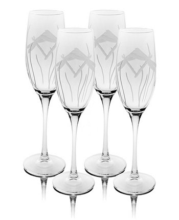 Dragonfly Champagne Flute 8Oz - Set Of 4 Glasses Rolf Glass