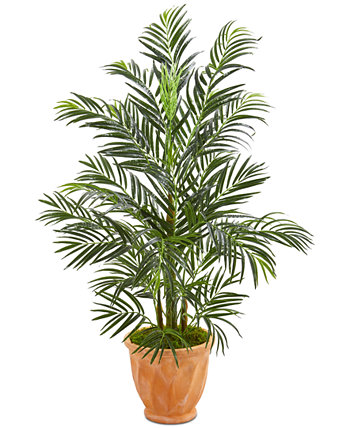 4' UV-Resistant Areca Palm Artificial Tree in Terra Cotta Planter NEARLY NATURAL