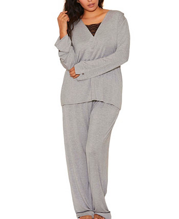 Plus Size Contrast Lace and Modal Comfy Sleep and Lounge Set ICollection
