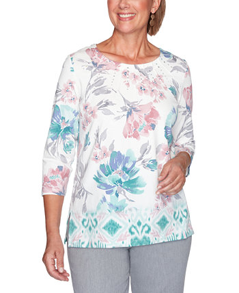 Petite St. Moritz Border Floral-Print Top Alfred Dunner