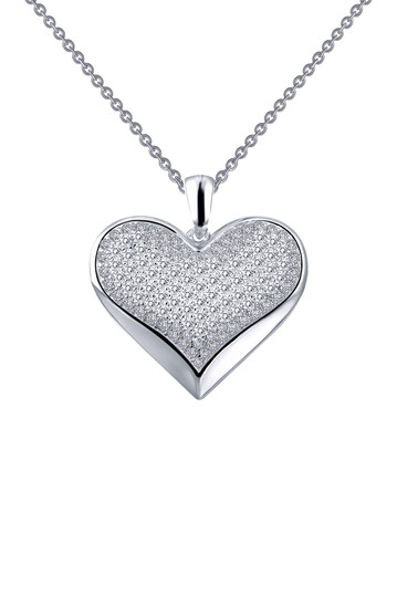 Platinum Plated Sterling Silver Simulated Diamond Micro Pave Heart Pendant Necklace LaFonn