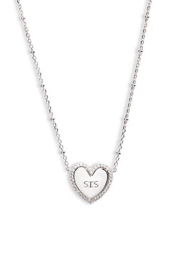 Sis Engraved Heart Pendant Necklace NADRI