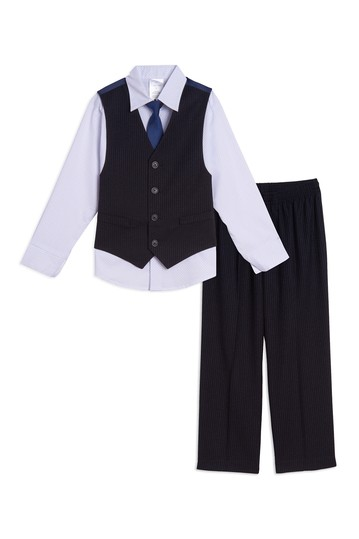 Pinstripe Vest 4-Piece Set (Little Boys) Calvin Klein