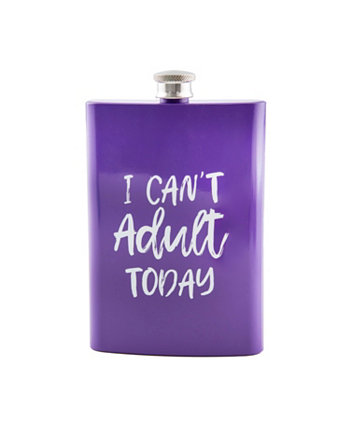 """8 oz Purple """"I Can't Adult Today"""" Flask THIRSTYSTONE"""