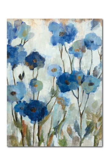 """Abstracted Floral in Blue III Gallery Wrapped Canvas Wall Art - 30"""" x 40""""  Courtside Market"""