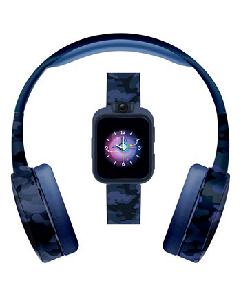 Kid's Playzoom Blue Camouflage Print Tpu Strap Smart Watch with Headphones Set 41mm ITouch