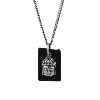Sterling Silver & Leather Meditating Buddha Pendant Necklace King Baby Studio