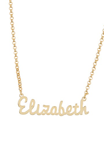 18K Yellow Gold Plated Sterling Silver 'Elizabeth' Name Pendant Necklace Argento Vivo