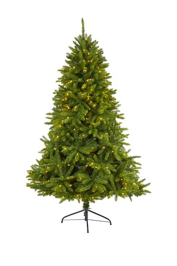 6ft. Sierra Spruce    Natural Look    Artificial Christmas Tree with 300 Clear LED Lights NEARLY NATURAL