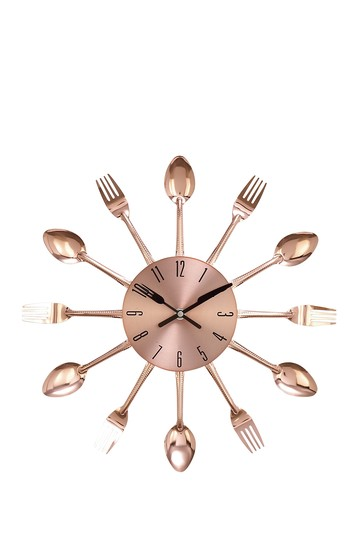 Round Metal Utensil Design Wall Clock Willow Row