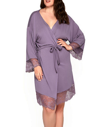 Women's Plus Size Ultra Soft Robe Trimmed in Tonal Lace ICollection