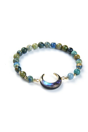 Natural Chrysocolla Bead Bracelet Abalone Shell Crescent Charm Bracelet Eye Candy Los Angeles