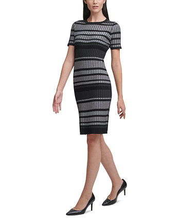 Striped Short-Sleeve Sweater Dress Calvin Klein