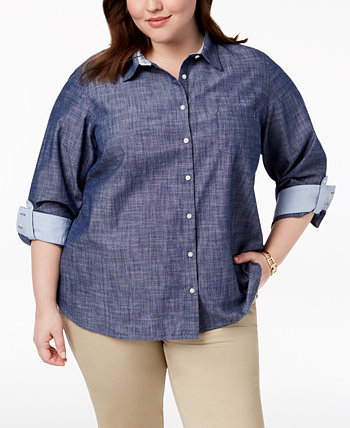 Plus Size Cotton Chambray Roll-Sleeve Shirt, Created for Macy's Tommy Hilfiger