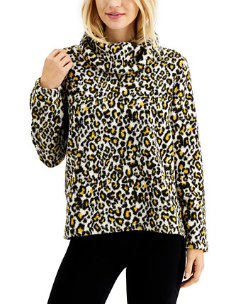 Petite Animal-Print Fleece Pullover, Created for Macy's Style & Co