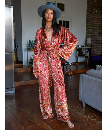 Harper Printed Tie-Waist Jumpsuit Free People
