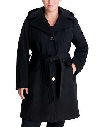 Plus Size Belted Hooded Wrap Coat, Created for Macy's Michael Kors