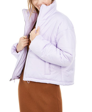 Juniors' Cropped Puffer Coat Celebrity Pink