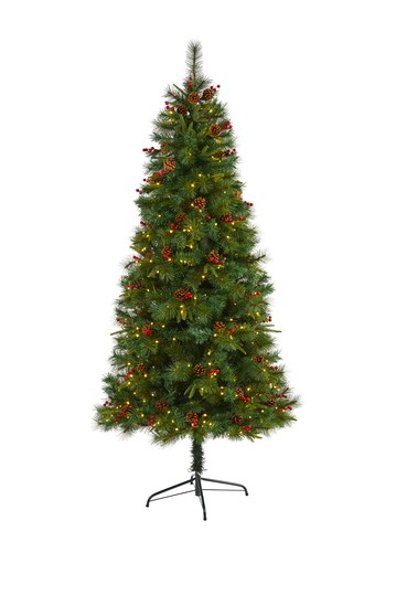 7ft. Mixed Pine Artificial Christmas Tree with 350 Clear LED Lights, Pine Cones and Berries NEARLY NATURAL