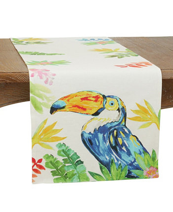 """Table Runner with Toucan Design, 72"""" x 16"""" Saro Lifestyle"""