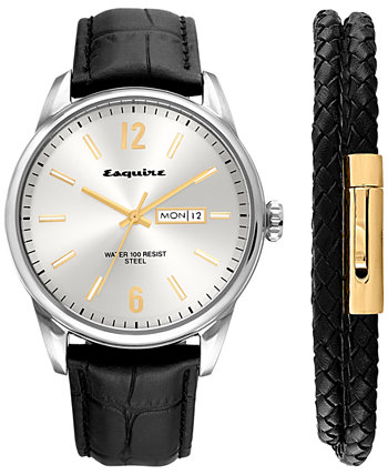 2-Pc. Set Black Leather Strap Watch 40mm & Woven Leather Wrap Bracelet, Created for Macy's Esquire Men's Jewelry