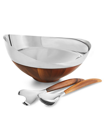 Pulse Salad Bowl with Servers Nambe