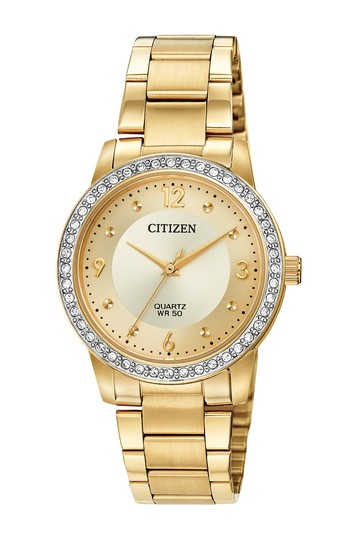 Women's Quartz Gold Tone Stainless Steel Bracelet Watch, 35mm Citizen