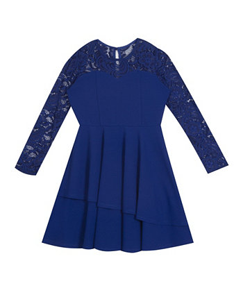 Big Girl Scuba Crepe 2-Tier Asymmetrical Skater Dress With Lace Sleeves Rare Editions