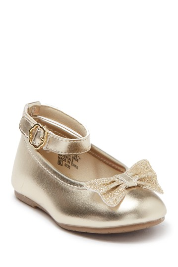 Lil Beth Bow Ankle Strap Ballet Flat (Toddler) Valencia Imports
