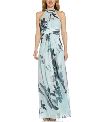Petite Tie-Back Halter Gown Adrianna Papell