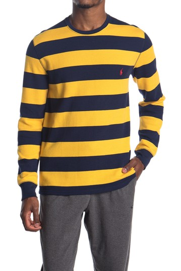 Rugby Stripe Waffle Knit Long Sleeve Sweater Polo