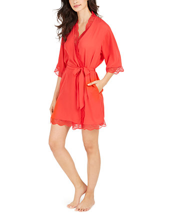 INC Lace Trim Short Robe, созданный для Macy's INC International Concepts