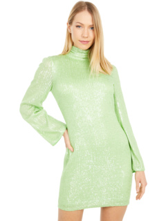 High Neck Solid Long Sleeve Sequin Party Dress ONE33 SOCIAL