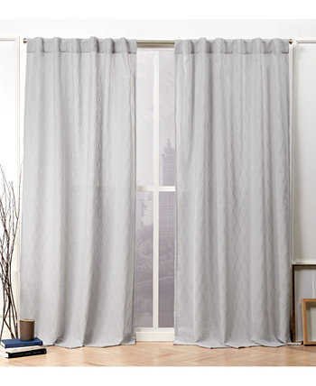 """Tangled Ogee Embroidered Sheer Hidden Tab Top Curtain Panel Pair, 54"""" X 84"""" Nicole Miller"""