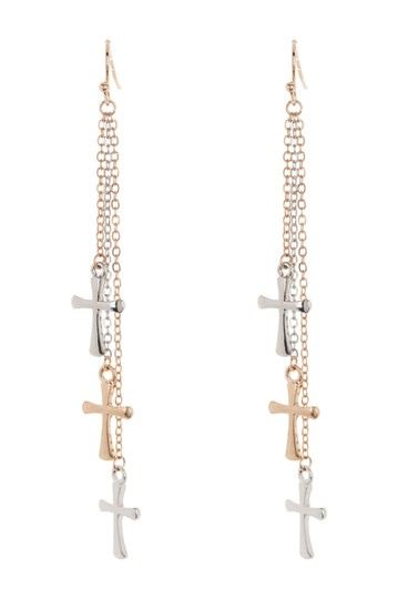Tri Tone Cross Statement Earrings AREA STARS