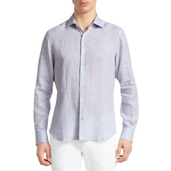 COLLECTION Specked Linen Shirt Saks Fifth Avenue