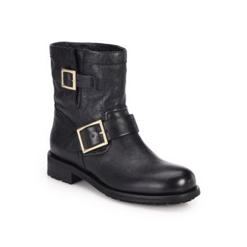 Youth Leather Biker Boots Jimmy Choo